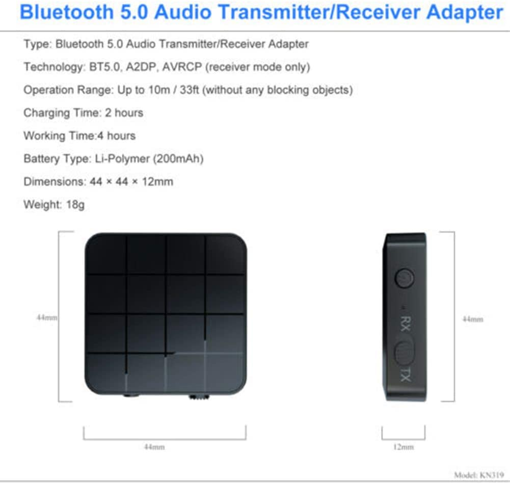 Petty Well 2 in 1 Bluetooth 5.0 Wireless Audio Trasmettitore Ricevitore Musicale Adattatore RCA AUX