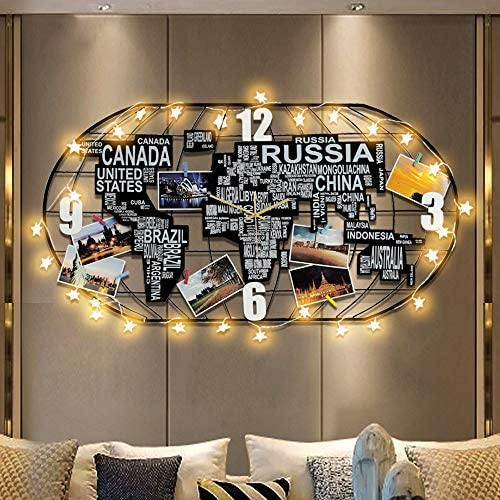 FLEBLE Metal Large Wall Clock Silent Movement,3D DIY World Map Art Black Clock