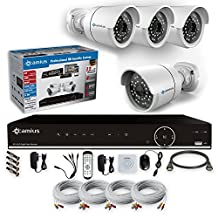 Camius Full HD 1080P Security Camera System with an 8CH DVR, 4 1080P Outdoor cameras (1920*1080P), IP66 Weatherproof, Night Vision, Motion Detection, without HDD, PC, Mac, mobile compatible