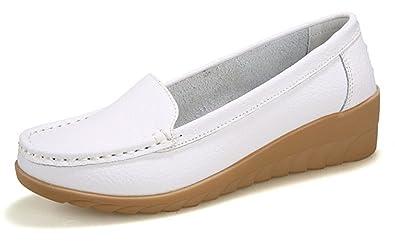 NEWZCERS - Mocasines de Piel para mujer, color blanco, talla 39 EU