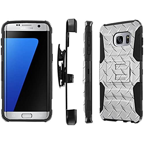S7 Edge / GS7 Edge [5.5 Screen] Case, [NakedShield] [Black/Black] Heavy Duty Holster Armor Tough Case - [Silver Sales