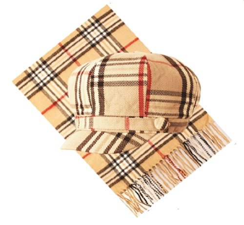 Big Apple newsboy hat cap with scarf cashmere Designer Inspired Plaid