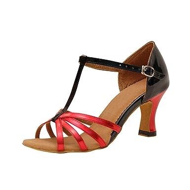 8361fda3196 LL Aux femmes PU Chaussures danse latine Type t Sangle cheville Boucle  talon haut mince Chaussures danse Antidérapant Poids léger Fond mou danse  de salon ...