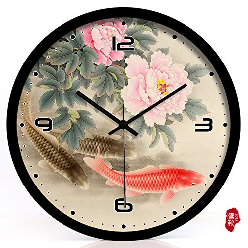 (TNKML Large Indoor Decorative Wall Clock Vintage Peony Creative Clocks Quartz Clock Country Mute Classic Living Room Kitchen Art Garden Clock 175, 12 Inches, Black Metal Border)