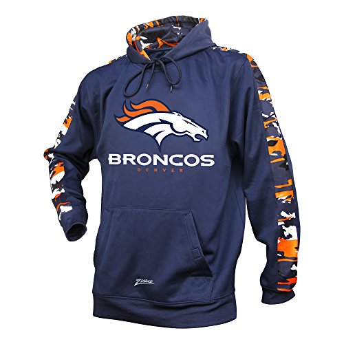 NFL Denver Broncos Men's Zubaz Camo Print Accent Team Logo Synthetic Hoodie, Large, - Men For Denver