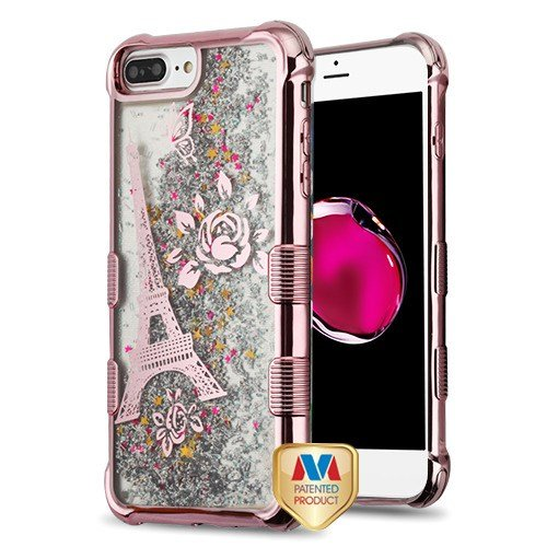 ShopAegis - [HYBRID LIQUID GLITTER] [Rose Gold/Silver] Eiffel Tower Paris Sparkle Flowing Electroplated Moving Quickstand Phone Cover Case for Apple iPhone 6/6s Plus - Mobile T Tower Water