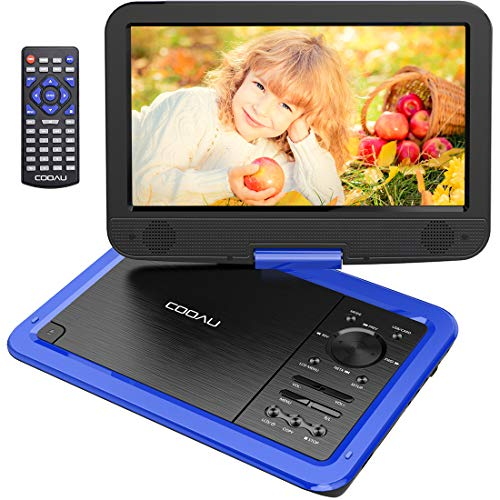 "COOAU 12.5"" Portable DVD Player 10.5"" Swivel Screen, 5 Hours Rechargeable Battery, Support USB SD Card Direct Play, Memory Playing, Loop Playing, Region Free, Blue"