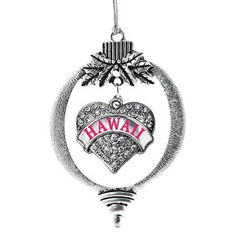 Inspired Silver Hawaii Pave Heart Holiday Christmas Tree Ornament With Crystal Rhinestones