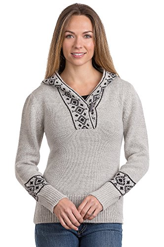Natalia Peruvian Alpaca Wool Hoodie Sweater, HEATHER GREY/BLACK, Size SMALL (4-6)