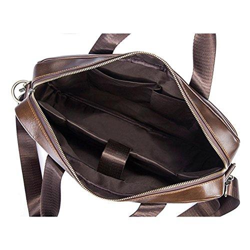 First Men Bag Handbag Business Genuine Coffee Money Briefcase Quality Man Gtuko Cow Shoulder Leather Tote Messenger Layer OzqwE7x