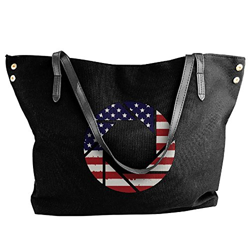 (SW98Q98 American Flag Aperture-1 Women's Recreation Shoulder Bag Canvas Handbag for Travel Big Shopping Bag)