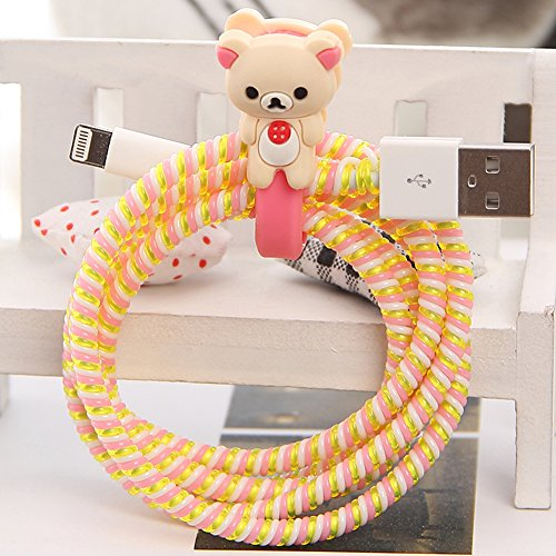 Check Decorator Fabric (Tospania DIY Cartoon Style Spiral Wire Protectors/Cable Wrap/Wire Organizer/Cord Manager for Apple Lightning Cables/Samsung and other Tablet Charging Cables/ Earphone Cords and More (Beige Bear))