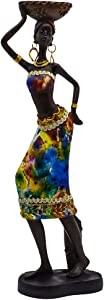 """Rockin Statue African Figurine Sculpture Colorfull Dress Standing Lady Figurine Statue Decor Collectible Art Piece 13"""" Inches Tall - Flower Dress Tropical -Body Sculptures Decorative Black Figurines"""