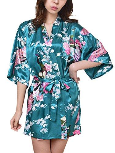 Feoya Peignoir Femme Satin Pyjamas robe Court Kimono - Vert foncé