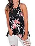 SALENT Womens Loost Fit Tank Tops High Neck Sleeveless Floral Cami Shirts Flowy Blouse