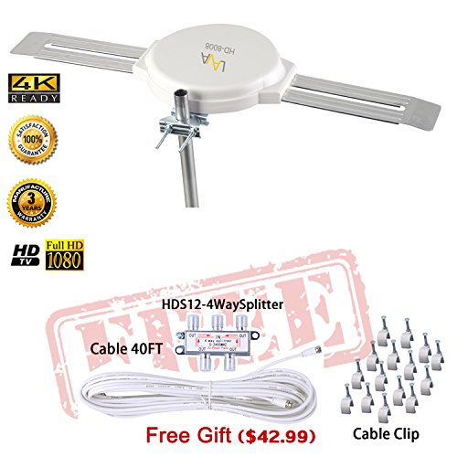 LAVA HD8008 360 Degree Omnidirectional HD TV 4K Omnidirectional TV Antenna Top Rated OmniPro HD-8008 + Installation Kit