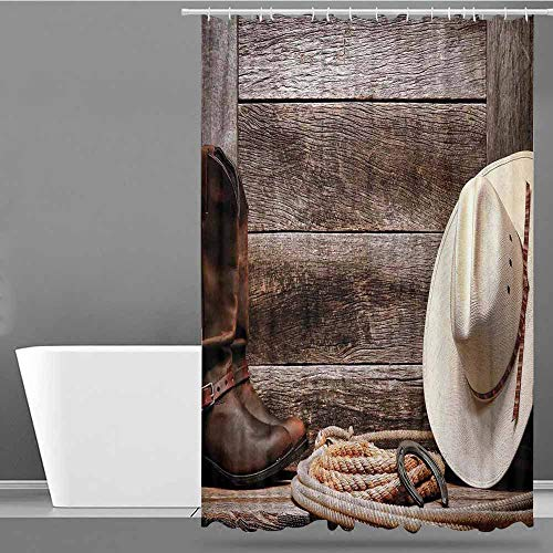 VIVIDX Bathroom Shower Curtain,Western Decor,American West Rodeo White Straw Cowboy Hat with Lariat Leather Boots on Rustic Barn Wood,Shower Curtain with Hooks,W48x72L