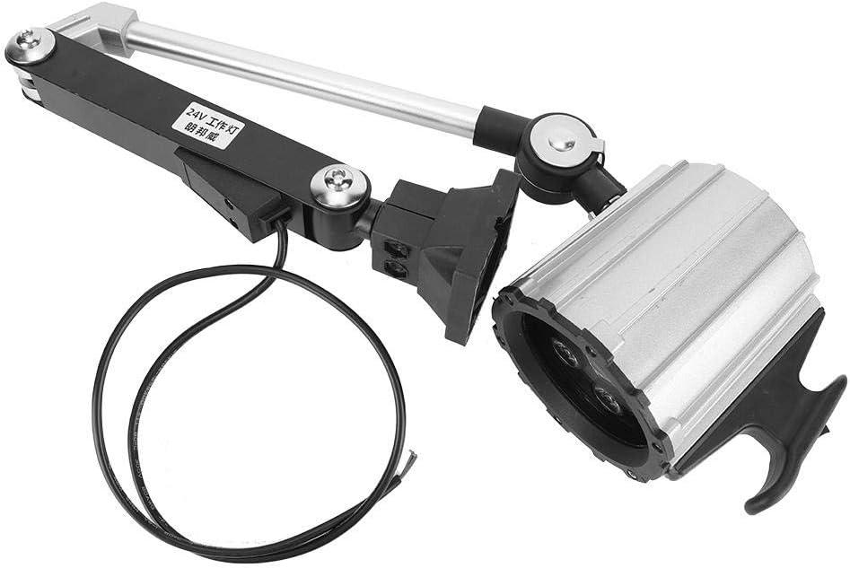 Fresadora CNC, Taladradora, Aleación de aluminio, Luz de trabajo ajustable para máquina multiusos, Luz de trabajo LED para torno 7W 24V(Negro)