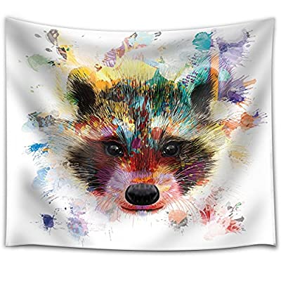 Fun and Colorful Splattered Watercolor Raccoon - Fabric Tapestry, Home Decor - 51x60 inches
