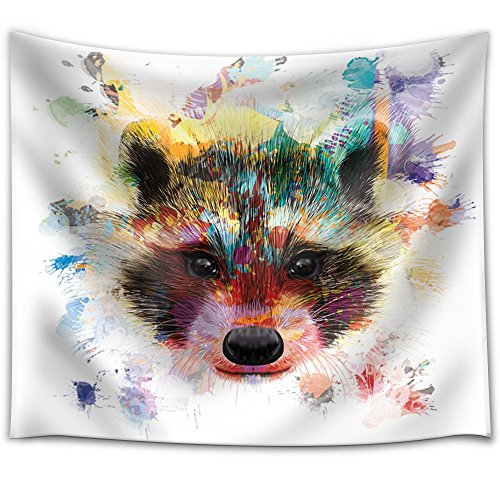 Fun and Colorful Splattered Watercolor Raccoon