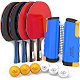 Ping Pong Paddle Set with Net - 4 Pro Ping Pong Paddles-Regulation Ping Pong Net Replacement for Any Table-3 Star Professional Ping Pong Balls-Retractable Table Tennis Net & Post Set | Ping Pong Сase