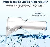 Aspirador Nasal Bebes Electrico Impermeable Carga USB Aspirador de Nariz con 4 tamaños Puntas de silicona 3 niveles de succión para Recién Nacidos,Niños Pequeños y ...