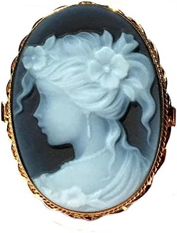 Cameo Ring Natural Agate Stone Size 8.5 Italian Laser Carved Sterling Silver 18k Gold Overlay Italian