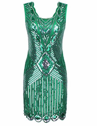 V Green 1920S Flapper Deep Beaded Women's Dress Evening Gatsby Sequined Kayamiya Chic Back TYwaf7qTx