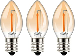 C7 LED Night Light Bulbs Window Candle Light Bulb 0.5W Equivalent 5 Watt Incandescent - E12 Candelabra Base 2200K Ultra Warm White for Home Decorate LED Village Bulb - 3Pack (Amber Glass)