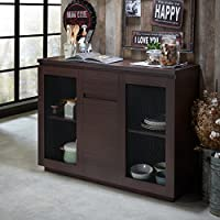 Furniture of America Darwen Contemporary Multi-Storage Dining Buffet Chestnut Chestnut Finish
