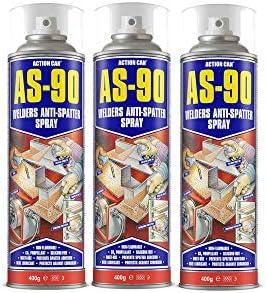 ACTION CAN AS-90 Schweißer, Anti-Spritzer, Mehrzweckflüssigkeit, 400 g, Aerosol, 3 Stück