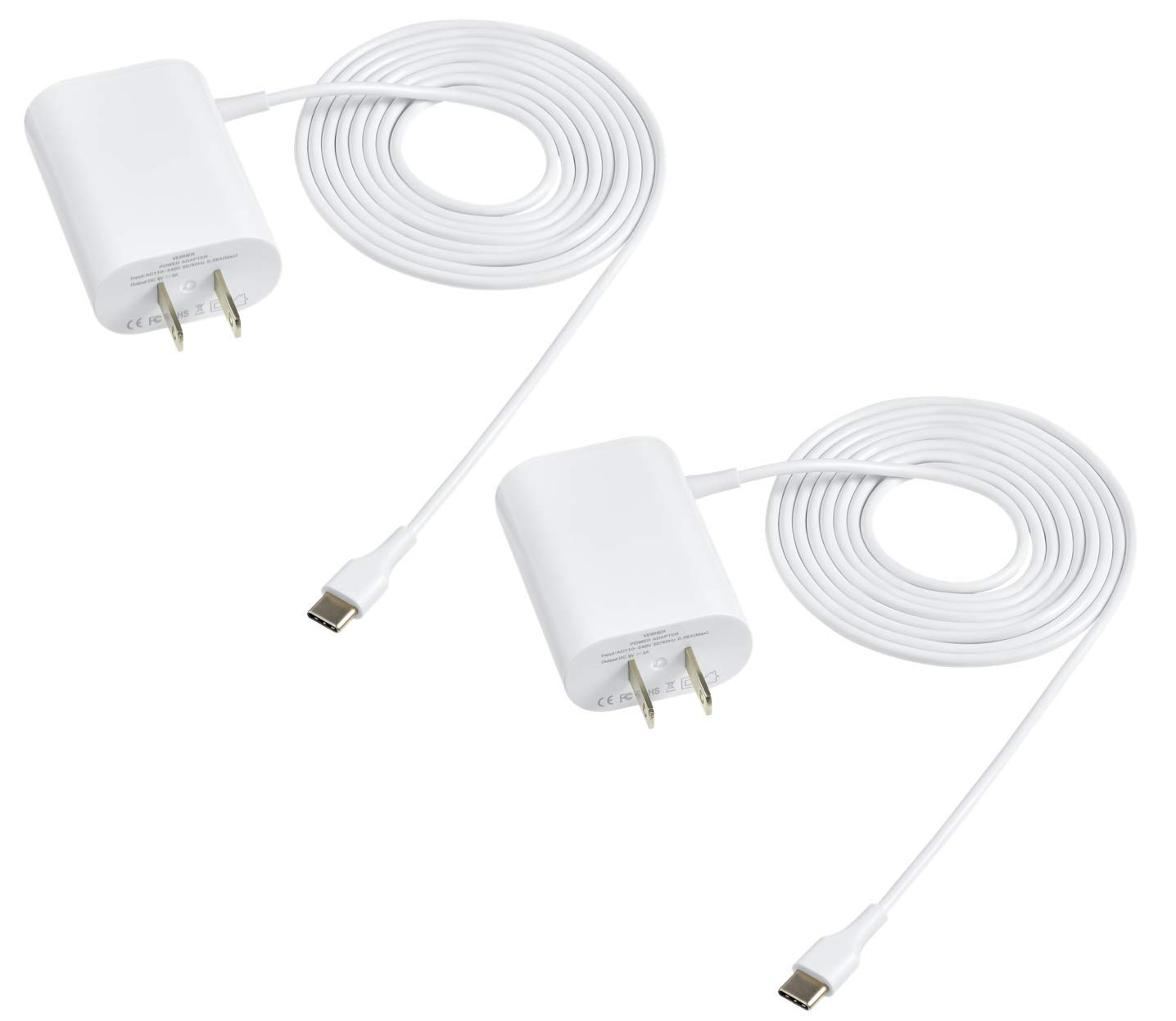 Vebner 6ft Power Adapter Compatible with Google Mesh Home WiFi System Power Cord - USB Type C. Also Compatible with Google Pixel Phone - 2-Pack