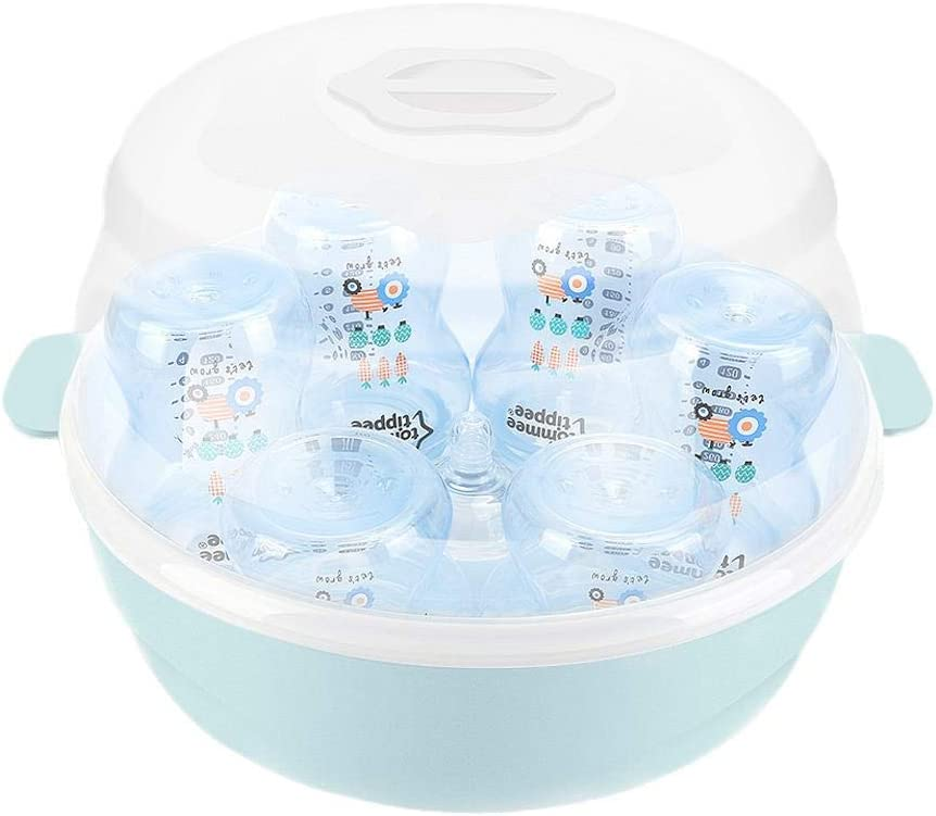 IMCROWN Baby Microwave Bottle Disinfection Box,Microwave Friendly Sterilize Baby Bottles High Temperature Nipple Sterilizer Bottle Holder Storage Box for Sterilize Bottles Cups Pacifiers