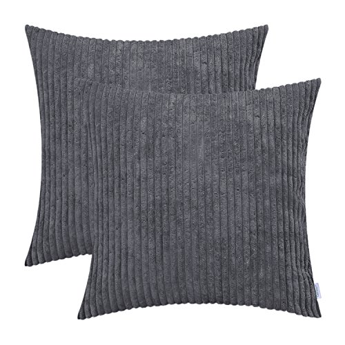 CaliTime Pack of 2 Cozy Throw Pillow Covers Cases for Couch Sofa Bed Comfortable Supersoft Solid Corduroy Striped Both Sides 18 X 18 inches Dark Grey ()