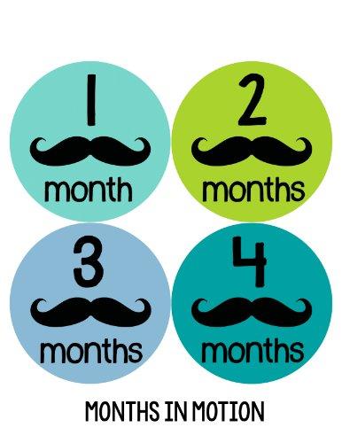 Months in Motion 153 Monthly Baby Stickers Mustache 12 Months Milestone Sticker