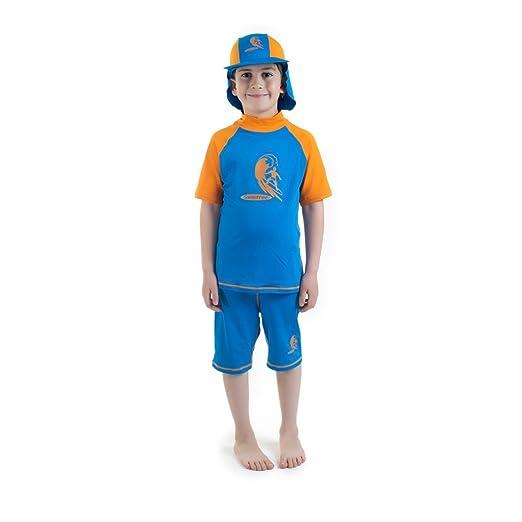 Amazon.com: Boys size 2 Blue/Orange Sun Protective Rashguard ...