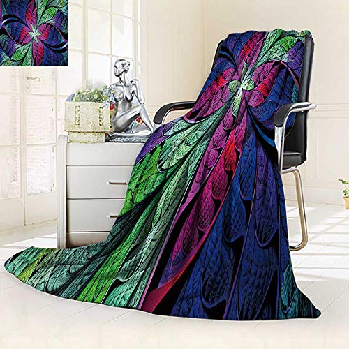 YOYI-HOME Fleece Duplex Printed Blanket 300 GSM Extraordinary Beautiful Multi Colored Stained Glass Leaves of a Fantastic Plant Abstract Soft Warm Fuzzy Bed Blanket/59 W by 47