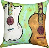 Manual 18 x 18-Inch Indoor / Outdoor Throw Pillow, All Strung Up Acoustic Guitar Four Seasons