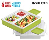 INSULATED BENTO LUNCH BOX - PINNACLE BENTAGO THERMO SLIM DESIGN, TRAY STYLE FOOD CONTAINER – LEAKPROOF - 3 COMPARTMENT PORTION CONTROLL – For Adults And Kids – GREEN