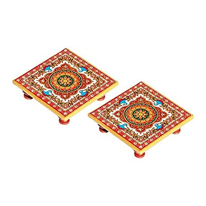 Handicrafts Paradise Intricate Floral Painted Marble Chowki (10.2 cm x 10.2 cm x 2.55 cm, Set of 2)