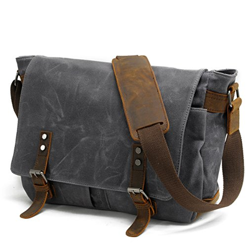 Fish & Fairy Vintage Canvas and Leather Messenger Bag 14-inch Laptop Bag (Crossover Mac 12)