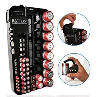 Battery storage rack with tester do it yourselfore 72 battery caddy storage plastic holder rack organizer removable tester aaa d c solutioingenieria Images