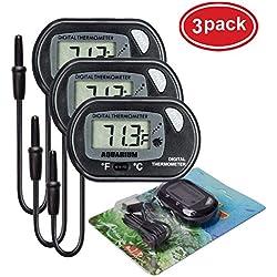 AUTIDEFY LCD Digital Aquarium Thermometer Fish Tank Water Terrarium Temperature (3 Pack)