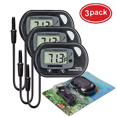 AUTIDEFY LCD Digital Aquarium Thermometer Fish Tank Water Terrarium Temperature (3 Pack)