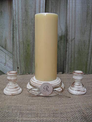 Shabby Chic Wood Wedding Monogram Unity Candle Holder Set - You Pick Color - Item 1562