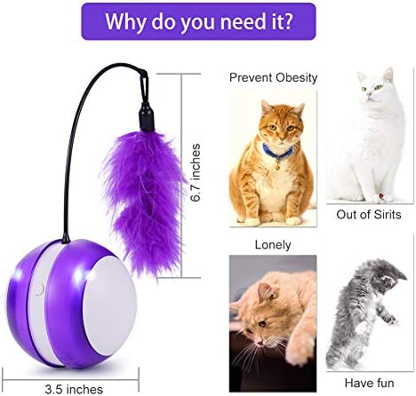 Smart Cat Toys Interactive, Automatic Cat Toy Ball Interactive Cat Toys for Indoor Cats, Best Electronic Feather Cat Toys Ball with Light for Cats, Cats Exercise/Companion Toy Ball by Tiitc 7