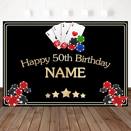 Mehofoto 50th Happy Birthday Backdrop Casino Poker Background
