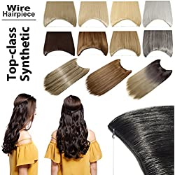 Invisible Secret Wire Flip on Clip in Hair Extensions 20-24 Inches Long Straight Wavy Curly Synthetic Hairpieces Miracle Translucent Fish Line Black Blonde Brown Ombre