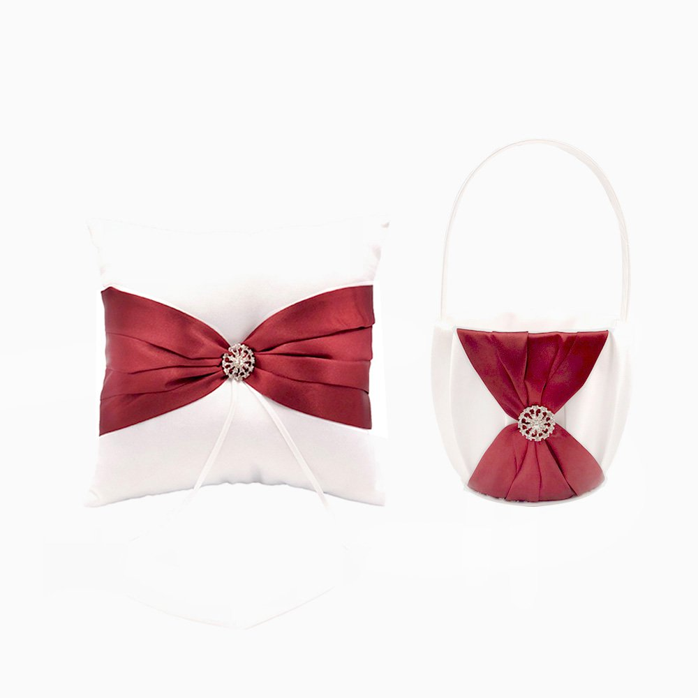 Abbie Home Wedding Flower Basket + Ring Pillow Rhinestone Décor Party Favor Set (Burgundy)