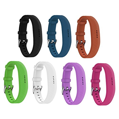 Fitbit Flex 2 Bands Replacement with Watch Buckle (7 Pack) Comfortable Soft Silicone Wristband Huadea by Huadea